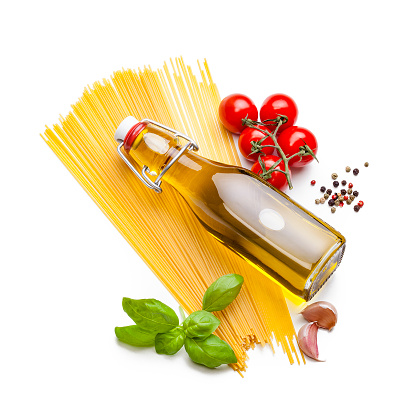 Garlic Clove「Ingredients for cooking Italian spaghetti isolated on white」:スマホ壁紙(0)
