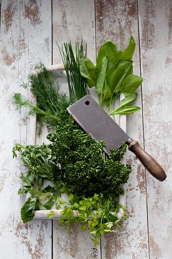 Tarragon「Ingredients of Frankfurt green sauce and cleaver」:スマホ壁紙(3)