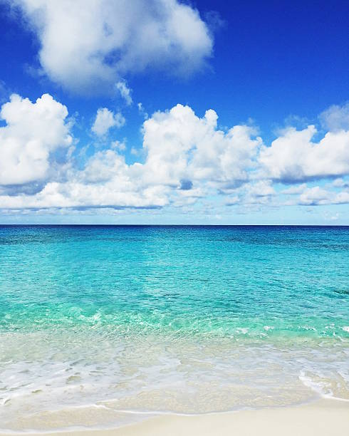 Turks and Caicos Islands, White clouds above clear shallow sea:スマホ壁紙(壁紙.com)