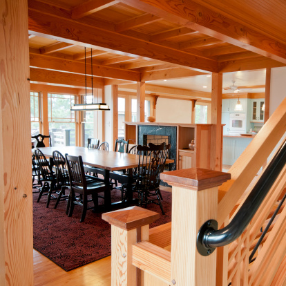 Ceiling Fan「Post and Beam Construction Home Interior」:スマホ壁紙(15)