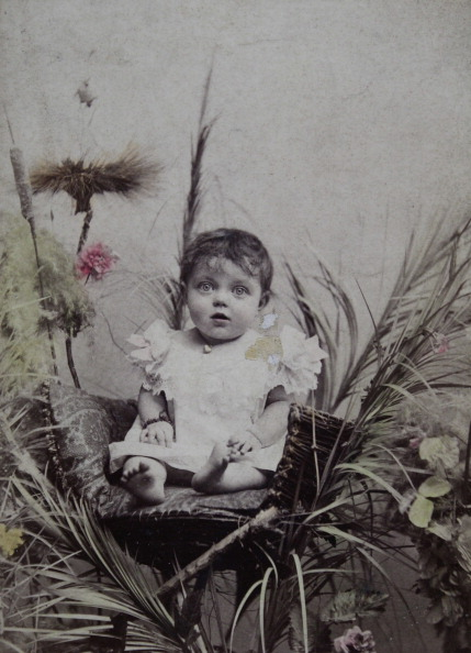 Raffia「Approximately 2 Year Old Baby In A Raffia Chair. Surrounded By Some Colored Plants And Flowers. About 1900. Photograph By S. Weitzmann / Vienna.」:写真・画像(4)[壁紙.com]