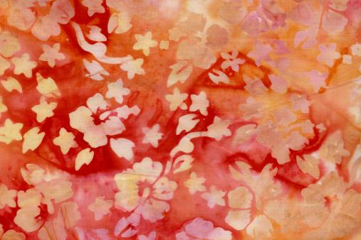インドネシア「バティック素材、ハイビスカス、黄色、オレンジ色」:スマホ壁紙(1)