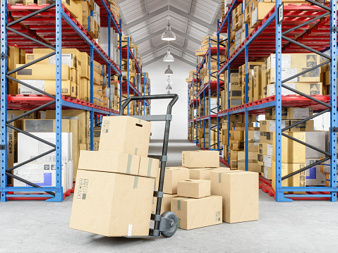 Pushing「Hand truck and cardboard boxes  in warehouse」:スマホ壁紙(18)