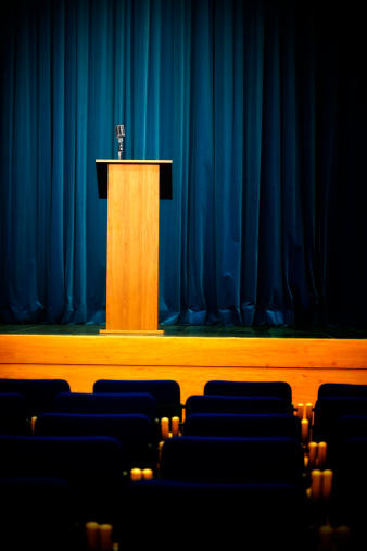 Press Room「Conference hall with rostrum and microphone」:スマホ壁紙(10)