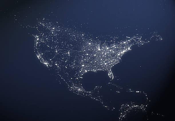 USA City Light Map:スマホ壁紙(壁紙.com)