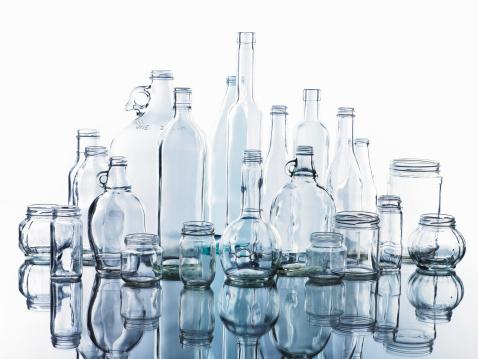 透明「Collection of various glass bottles and jars」:スマホ壁紙(8)
