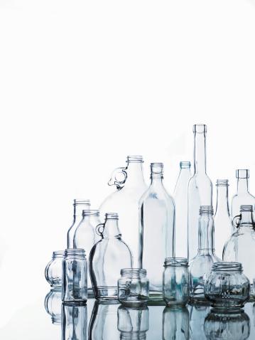 Transparent「Collection of various glass bottles and jars」:スマホ壁紙(9)