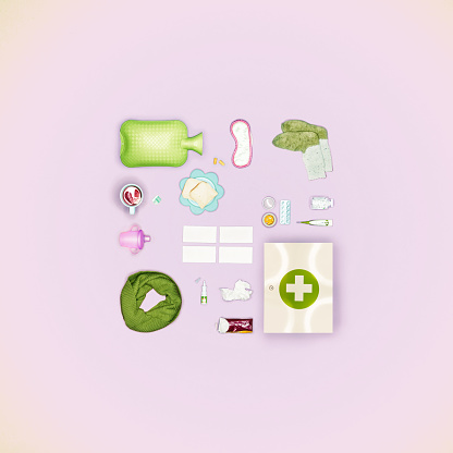 """Handkerchief「Collection of objects related to """"illness"""", placed on a light pink background」:スマホ壁紙(15)"""