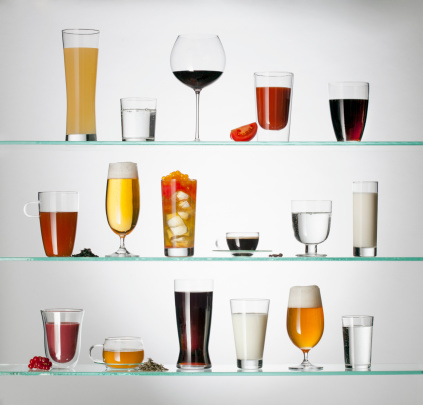Alcohol - Drink「A collection of various types of drinking glasses filled with a variety of beverages」:スマホ壁紙(15)