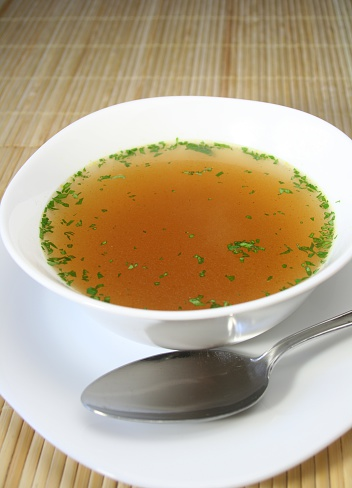 Broth「Soup in a white bowl with a silver spoon on the side」:スマホ壁紙(17)