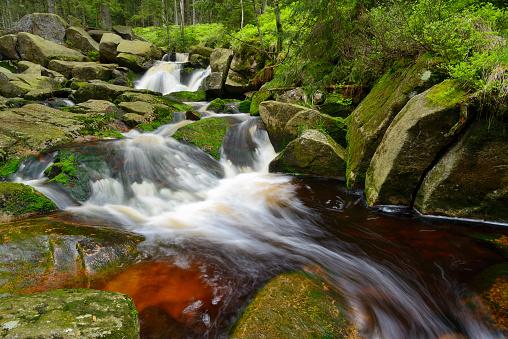 Harz Mountain「Waterfall of the mountain stream Warme Bode (Upper Bodefall). Warme Bode, Braunlage, Harz, Lower Saxony, Germany, Europe.」:スマホ壁紙(12)