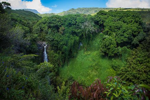 Haleakala National Park「Waterfall on Pipiwai trail, Maui.」:スマホ壁紙(3)