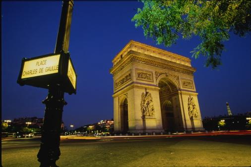 Arc de Triomphe - Paris「France,Paris,Arc de Triomphe illuminated at night」:スマホ壁紙(9)