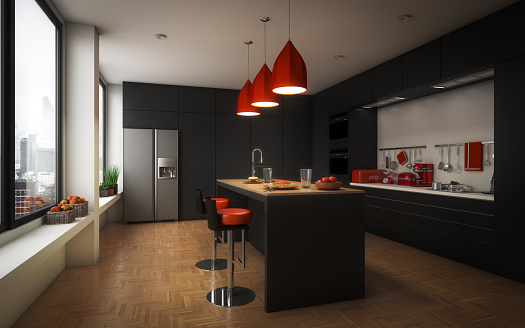 Black Color「Modern Domestic Kitchen」:スマホ壁紙(11)