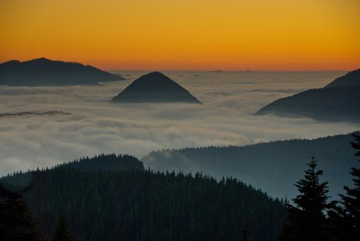 レーニア山国立公園「ピークの上の霧の夕暮れ」:スマホ壁紙(4)