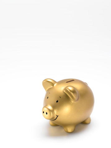 Budget「Gold piggy bank on white background」:スマホ壁紙(7)