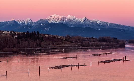 Pink「日没、BC、カナダのフレーザー川」:スマホ壁紙(17)