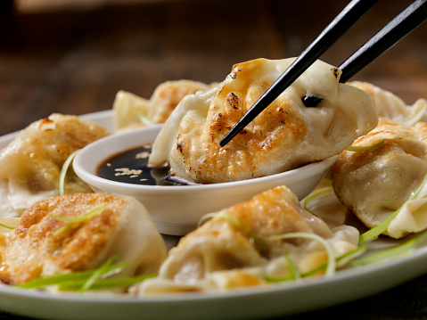 Soy Sauce「Pan Fried Asian Pork Dumplings with Soy Sauce and Green Onions」:スマホ壁紙(10)