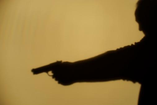 Arm「Shadow of man pointing gun, side view」:スマホ壁紙(14)