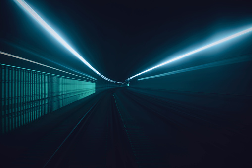 Light Trail「Tunnel speed motion light trails」:スマホ壁紙(10)