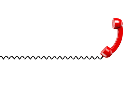 Cable「Red Phone Reciever on a Spiral Cord on White」:スマホ壁紙(13)