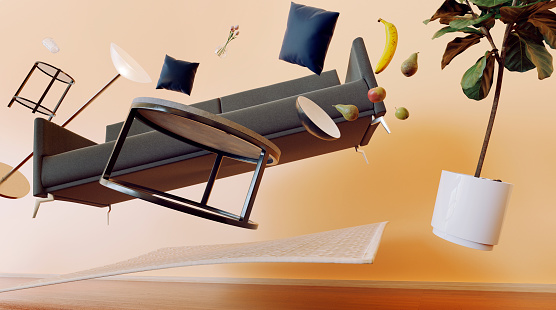 Insurance「Concept of living room with furniture flying through the air」:スマホ壁紙(9)