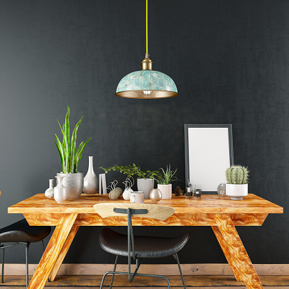 Black Color「Mockup Frame with Table and Decors」:スマホ壁紙(12)