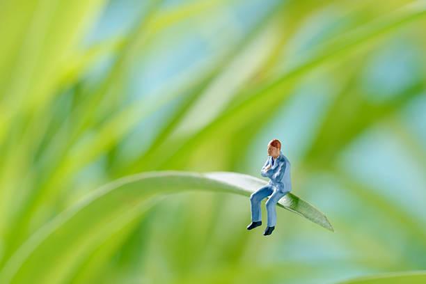 Man sitting on a green leaf:スマホ壁紙(壁紙.com)