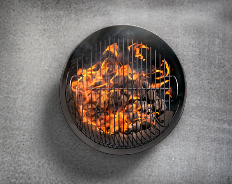 Barbecue Grill「Charcoal BBQ on a Concrete Patio」:スマホ壁紙(1)