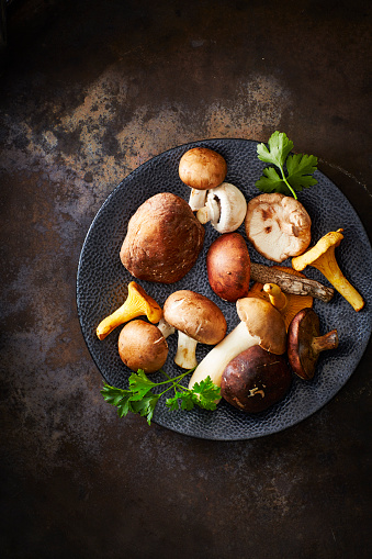 シイタケ「Plate of different mushrooms on rusty ground」:スマホ壁紙(4)