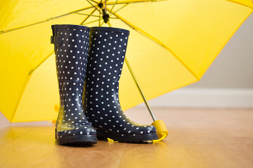 水玉「Polka dot wellingtons under yellow umbrella」:スマホ壁紙(7)