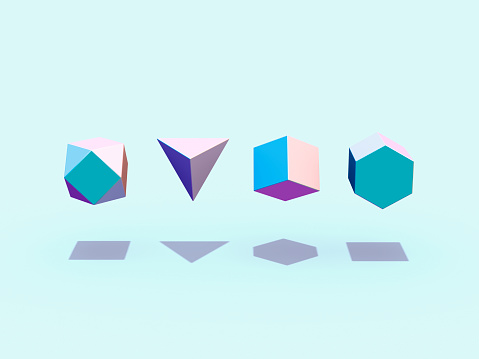 Four Objects「Floating geometric shapes」:スマホ壁紙(5)