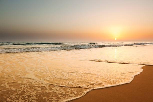 Ocean beach sunset landscape view:スマホ壁紙(壁紙.com)