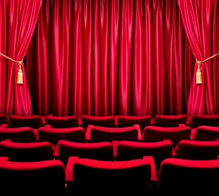 Film Industry「Theatre seats facing a closed curtain」:スマホ壁紙(8)