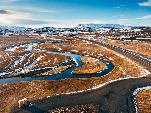 Tundra「Iceland aerial view Landscape with snow and clouds」:スマホ壁紙(10)