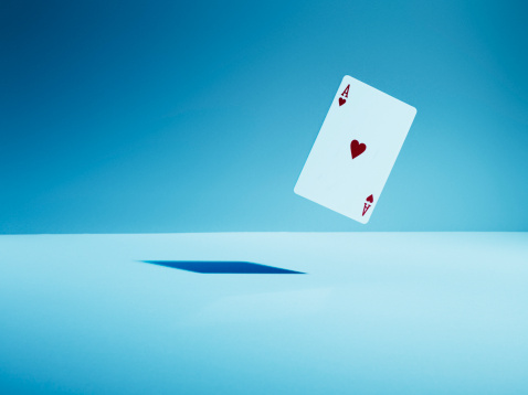 Gambling「Ace of hearts playing card in mid-air」:スマホ壁紙(14)
