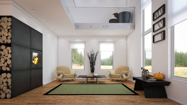Modern Two-Level Living Room:スマホ壁紙(壁紙.com)