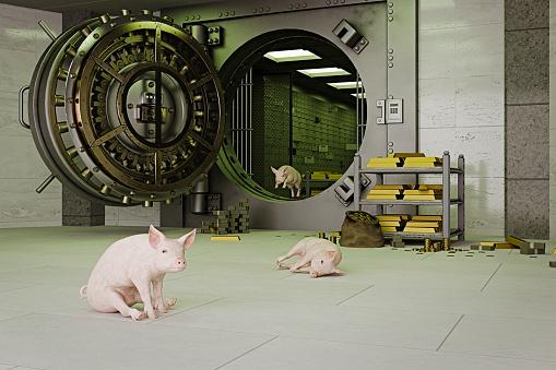 Three Animals「Pigs escaping from vault」:スマホ壁紙(13)