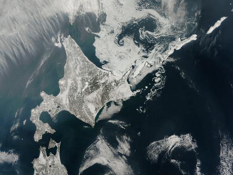 Hokkaido「February 27, 2014 - Satellite view of Hokkaido Island, Japan.」:スマホ壁紙(6)
