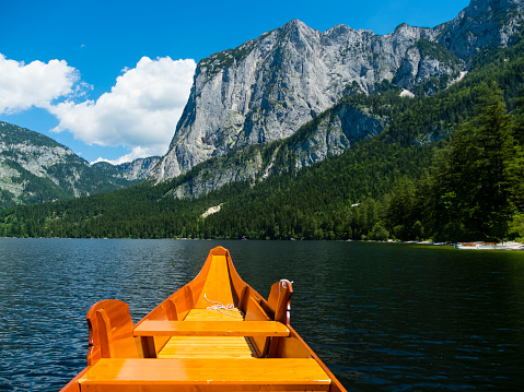 Salzkammergut「Austria, Styria, Altaussee, boat on Altausseer See with Trisselwand at in the background」:スマホ壁紙(2)