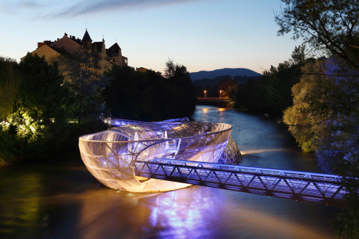 Tradition「Austria, Styria, Graz, View of Murinsel at River Mur」:スマホ壁紙(0)