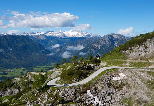 Dachstein Mountains「Austria, Styria, Salzkammergut, Ausseerland, View from Loser scenic road to Dachstein」:スマホ壁紙(16)