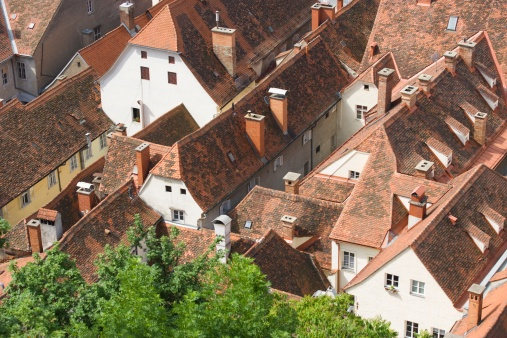Graz「Austria, Styria, Graz, Roof tops of old town, elevated view」:スマホ壁紙(10)