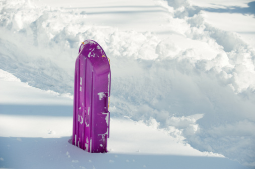 Sled「A sled rests in a snow bank after a winter storm.」:スマホ壁紙(5)