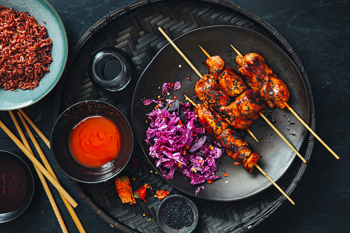 Chili Sauce「Negima Yakitori. Glazed Japanese grilled chicken skewers」:スマホ壁紙(12)