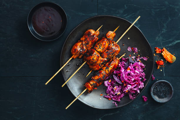 Negima Yakitori. Glazed Japanese grilled chicken skewers:スマホ壁紙(壁紙.com)