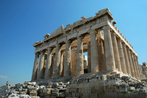 Ancient Greece「Ruins of the Parthenon in Greece against a blue sky」:スマホ壁紙(6)