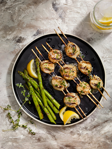 Asparagus「BBQ Grilled Scallops with Grilled Asparagus and a Herb, Garlic Butter Sauce」:スマホ壁紙(6)