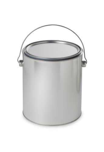 Metallic「Silver paint bucket. Add your own message or brand」:スマホ壁紙(13)