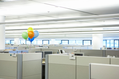 Balloon「Bunch of balloons amidst cubicles in office」:スマホ壁紙(2)